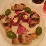 Antipasti platter with the delicious garlic knots, Mmm good.