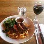 Bavette steak and wine