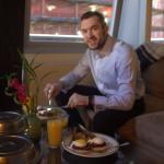 Room service breakfast - eggs benedict with steak!