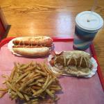 New Englander, plain dog with mustard, fresh-cut fries and chocolate shake