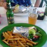 Gyros and Greek Fries with Greek Beer