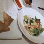 Samosas accompanied with a cold Okra/Palm Hearts salad