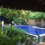 linda piscina vista do salão do café