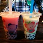 Strawberry and Green Jasmine Boba Teas