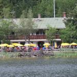 View of restaurant from walking path on other side of lake