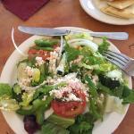 Greek salad and pita bread