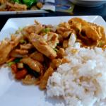 Cashew Chicken, Evil Jungle Prince curry, white rice