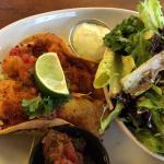 Fish taco with caesar salad