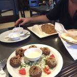 falafel and chicken with mushrooms