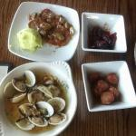 clams, chorizo, bacon wrapped dates & picadillo