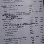 Una parte del menu delle birre