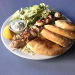 Lunch Size Chicken Souvlaki with Caesar Salad instead of Greek