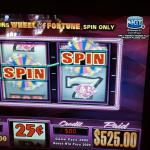 My husband's win on quarter wheel of fortune. $1.25 wone $525