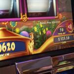 My husband's win on three reel willy wonka. .70 cents won $106.20