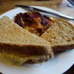 Ham and tomato toasted sandwich