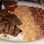 Asada plate, steak, rice, charro beans. Very good! photo by Carmen