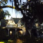 The front of the Inn with Amazing Oaks with Spanish moss