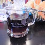 Branded glass mugs to enjoy hot or cold beverages - and they make wonderful useable souvenirs to