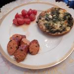 Another unique breakfast - spinach & egg bake, cherry tomatoes and spicy sausage. Delicious!