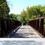 Wooden cart path bridge