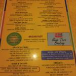 Menu and example of breakfast special