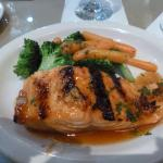 Grilled salmon fillet with orange ginger glaze