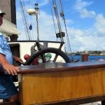 Pierter, sharing the history of their boat.