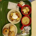 French Onion Soup, Chicken Pot Pie soup, Loaded Baked Potato, Biscuit and Blueberry Muffins