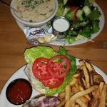 Train wreck burger and salad with clam chowder