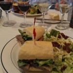 Pate de campagne on baguette with Caesar salad and wine flight