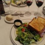Croque Monsieur sandwich with house salad and wine flight