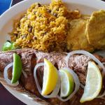 Shrimp in criolle sauce and fried whole red snapper