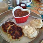 whiligigs down home fish cakes, baked beans, green tomato chow and a biscuit   east coast awesom