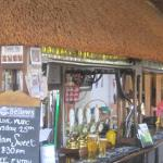The thatched bar area
