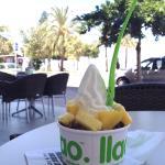 Frozen yogurt and sunny view