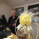 Mary with the raffle prize.   Had a lovely cup of tea. The team. Are great.   Nice to meet the d