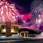 Incredible view of winter carnival fireworks from Rabbit Ears Motel