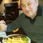 Hubby enjoying his birthday meal of lambs liver and onions