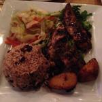 Jerk chicken, rice and peas, cabbage and plantains...yum!