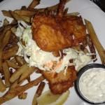 Fish with hand cut fries and coleslaw and tartar sauce