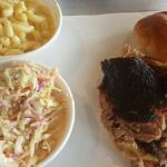 Pulled pork with mac and cheese and slaw