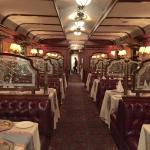 Great food and very original decor (luxury train car)