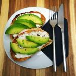 Avocado on Black Pepper Soft Cheese with lime...delicious, and available at anytime of day.