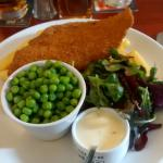 A super plate full of plaice peas chips & side salad