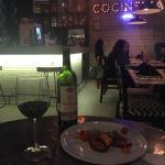 Delicioso pulpo con un vino Chihuahuense
