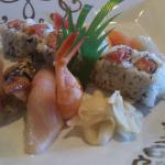 Sushi dinner. Chef's choice and salmon roll
