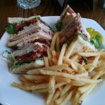 Nice  club sandwich and fries under $10.