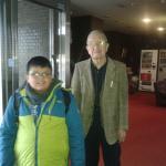 Mi hijo Luciano con el dueño del hotel sr. Tanada