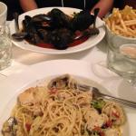 moules frites and seafood pasta