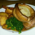 Roast beef ,homemade yorkshires and banoffe pie . delicious and homemade